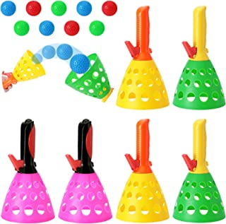 Catch Games Pop and Catch Ball Games Outdoor Indoor Game Activities Include 4 Catch Launcher Baskets and 8 Balls for Teens...