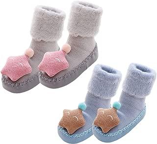 Baby Socks Non-skid Floor Sock Leather Edge Prewalker Sock, 12-18 Month,2 Pair