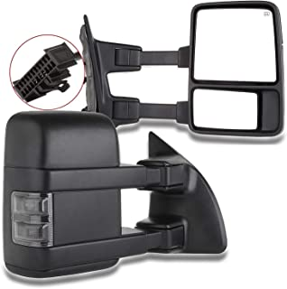 SCITOO Tow Mirrors fit 1999-2016 Ford F250 F350 F450 F550 Super Duty Pickup Manual LED Smoke Signals Lamps View Mirror Pair