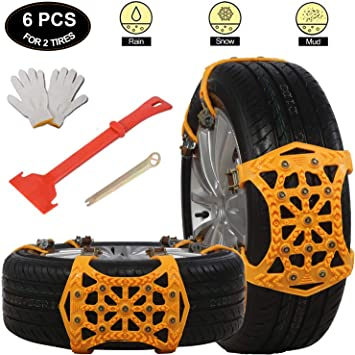 soyond Snow Tire Chains for Cars - Anti Slip Tire Straps Adjustable Universal Emergency Winter Anti-Skid Wheel Traction Chains for Cars SUV Truck ATV Set of 6 Width 165-275mm/6.4-10.9'': image