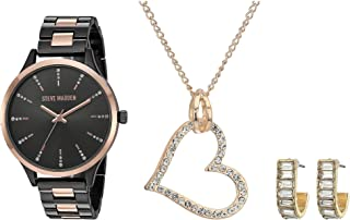 Steve Madden Heart Pendant, Earrings Set and Watch Set SMWS074 Black One Size
