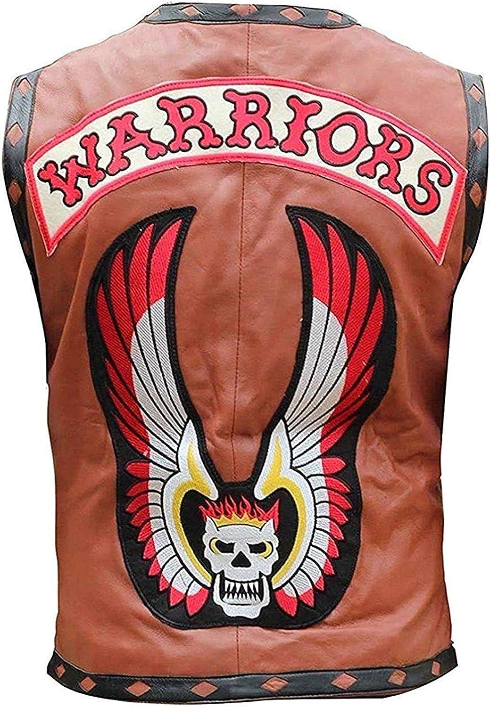 Mens The Warriors Brown Biker Leather Vest