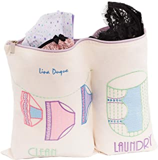 LIna Duque Laudry Bag for Delicates Perfect for Traveling 2 Divisions Clean and Dirty Clothes Size 17x11 inches
