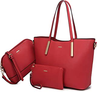 Tote Bags for Women PU Leather Shoulder Bags Handbag Women Purses and Handbags 3pcs Medium Size for Travel