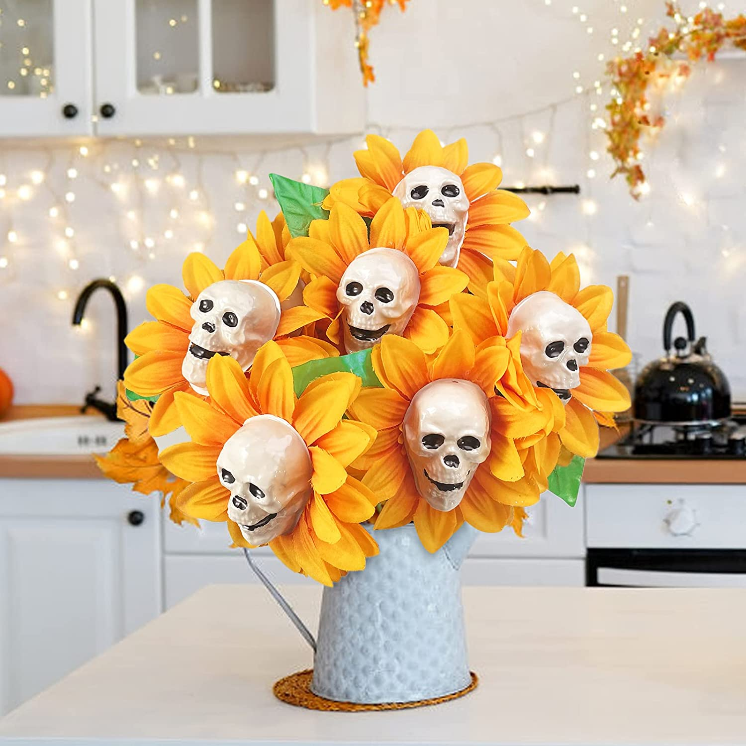Halloween Decor - Skull Sunflower Bouquet 6 Stems - Artificial Flowers for Decoration Table Centerpieces - Plant Decorations for Desk Office Home Indoor