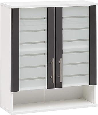Schildmeyer 139167 NIKO Armoire Suspendue Blanc/Anthracite Brillant 59,8/20,5/70,8 cm