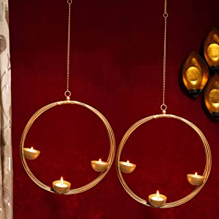 TIED RIBBONS Set of 2 Wall Hanging Round Shape Golden Tealight Candle Holders for Christmas Lights Decoration