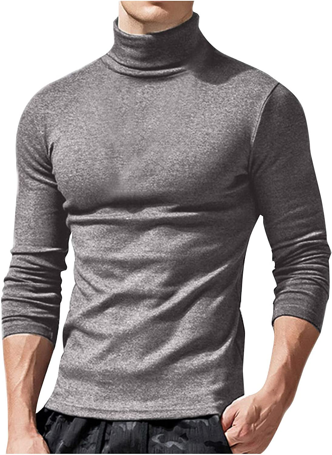 eipogp Men's Solid Turtleneck Pullover Shirts Casual Slim Fit Long Sleeve T-Shirt Basic Thermal Tops