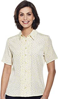 Chums Ladies Womens Short Sleeve Pintuck Printed Blouse