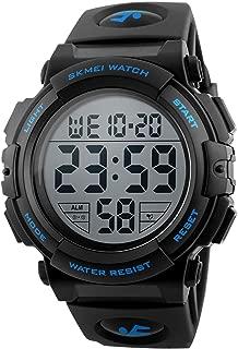 Men's Digital Sport Watch Waterproof Led Electronic Military Wrist Watch with Alarm Stopwatch Calendar Date Window – Blue