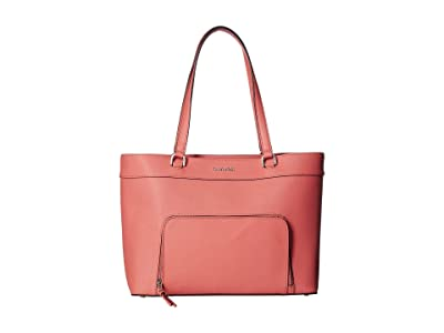 Calvin Klein Louise Saffiano Leather Tote (Porcelain Rose) Handbags