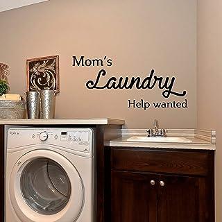 """Sticker mural en vinyle – Mom's Laundry Help Wanted – 38,1 x 32"""" – Citation drôles de décoration de buanderie – Pochoir ad..."""