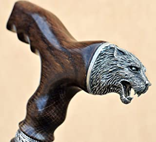 Fashionable Walking Canes for Men - Wolf - Carved Derby Men's Cane - Fancy Stylish Wooden Canes and Walking Sticks