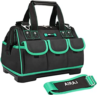 AIRAJ 14-in Tool Tote Bag,Suitable for Electrician, Woodworking Waterproof, Large Capacity,Plastic Bottom Electrician Bags (14 inch)