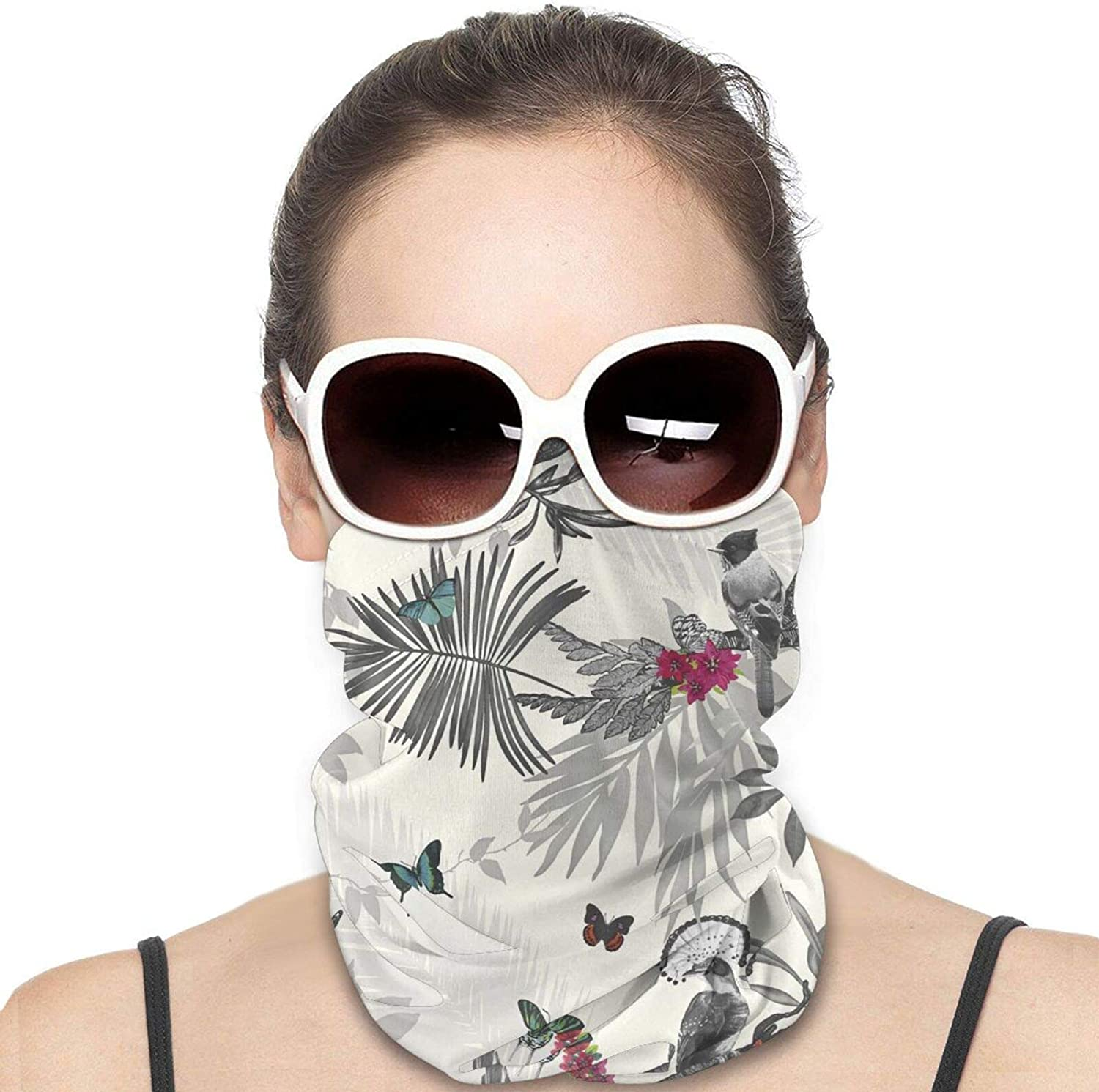 Floral Leaf Neck Gaiter Windproof Face Cover Balaclava Outdoors Magic Scarf Headband for Men Women Motorcycling Fishing Running Climbing