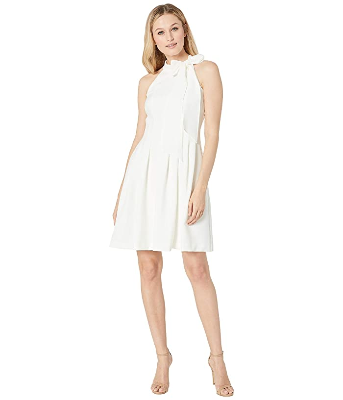 Vince Camuto Kors Crepe Fit Flare w/ Bow Neck (Ivory) Women