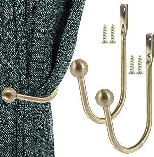 Ghopy Lot de 2 Embrasses à Rideaux Crochets de Rideaux en Métal Forme U Embrasses Décoratives pour Rideaux Crochet de Fixa...