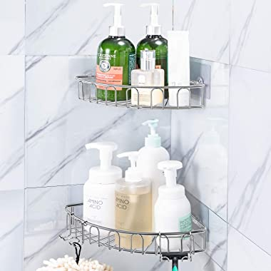 Orimade Corner Shower Caddy Stainless Steel with Hooks Wall Mounted Bathroom Shelf Storage Organizer Adhesive No Drilling 2 P