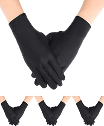 Sumind 4 Pairs Adult Uniform Gloves Spandex Gloves Dress Glove for Police Formal Tuxedo Guard Parade Costume