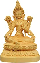 HYBAUDP Statues Collectible Indian Buddha Statues for Home, Tibetan Buddhist Green Tara Boxwood Figurine Mother Goddess Sc...