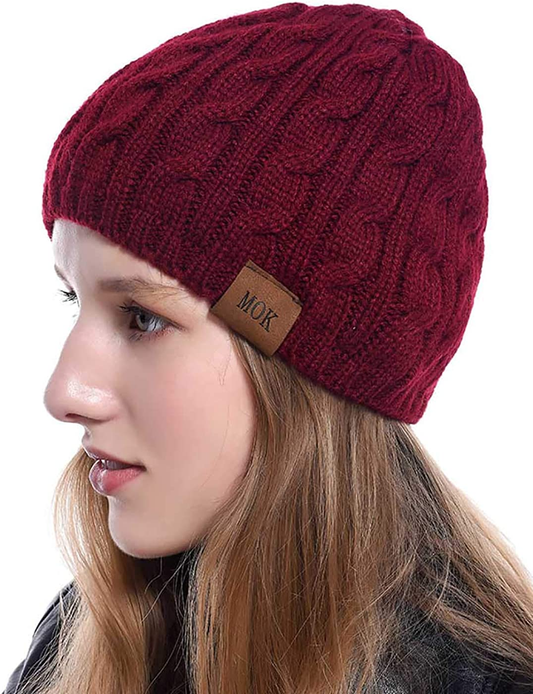 Woeoe Cable Knitted Beanie Red Chunky Ribbed Skull Cap Winter Warm Skully Hat for Women and Girls