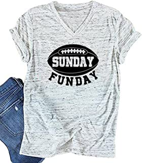 Sunday Funday Letters Print T Shirt Women Football Sport Casual Short Sleeve Top