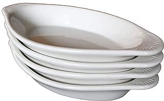 CAC Ceramic Oval Rarebit/Au Gratin Baking Dish with Pan Scraper, Set of 4 (12 Ounce, Bone White)