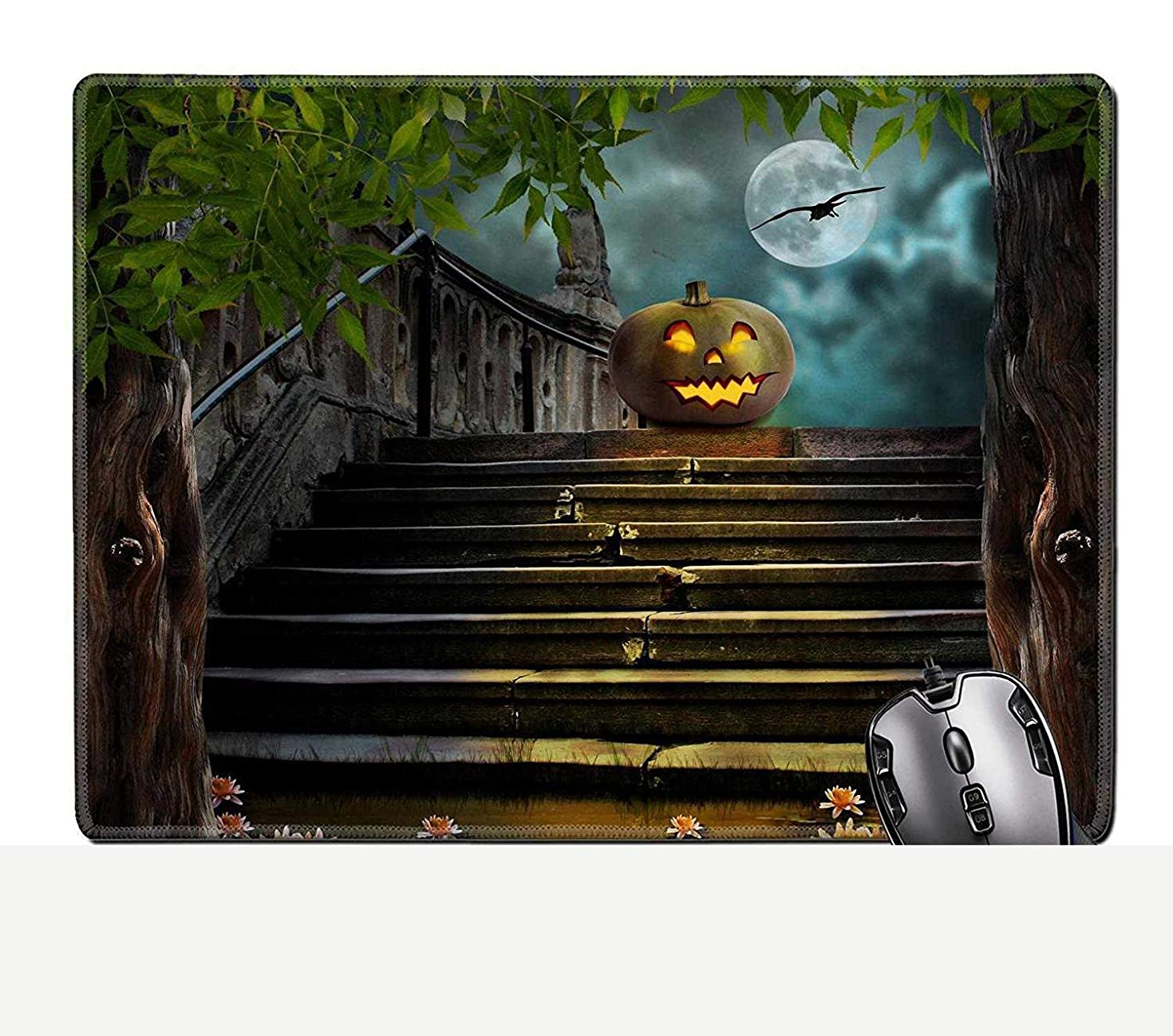 BGLKCS Halloween Pumpkins in Yard of of Old Stone Staircase Night in Bright Moonlight Image Stain Resistance Kit Kitchen Table Top De
