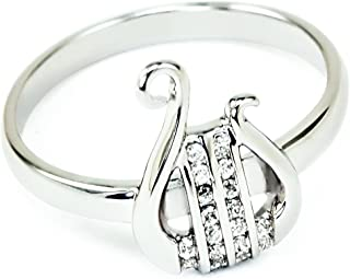 Alpha Chi Omega Sorority Sterling Silver Lyre Ring with Simulated Diamonds