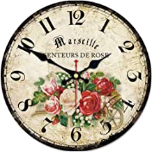 ShuaXin French Country Style Retro Quartz Wall Clocks,Wooden 14 Inch Flowers Roses Wall Clocks,Easy to Read Silent Non Ticking Quiet Round Wall Clock
