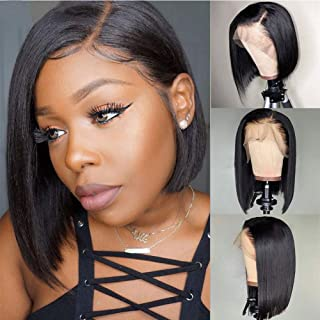 Xtrend 8inch Straight Short Bob Lace Front Wig Glueless Bob Wigs for Black Women 10A Brazilian Virgin Human Hair Natural Hairline 130% Density Natural Black