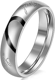 JewelryWe Gioielli Anello da Uomo Donna Acciaio Inossidabile promessa Real Love e Amore Cuore Dipinto Fidanzamento Matrimo...