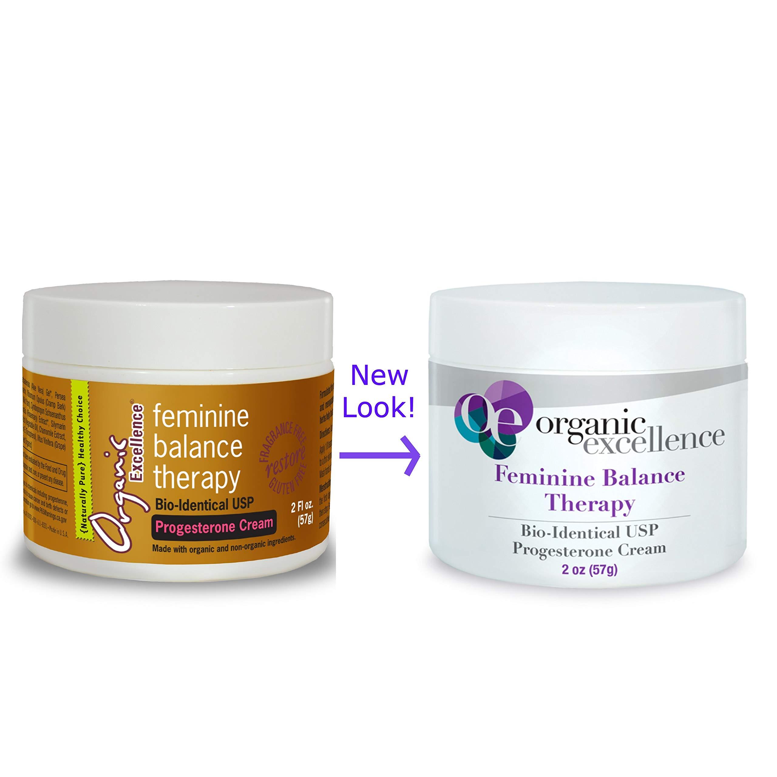 Organic Excellence Feminine Balance Therapy Progesterone Cream - 2 oz / 57g Jar - Bio-Identical USP, Balancing Formula for Hormonal Imbalance, PMS, Perimenopause, Menopause