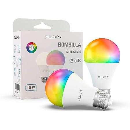 Bombilla Led Inteligente Wifi FLUX'S [2 UDS] 10W, E27, Regulable, Luz Cálida, RGB Multicolor, Compatible con Alexa, Echo, Google Home e IFTTT
