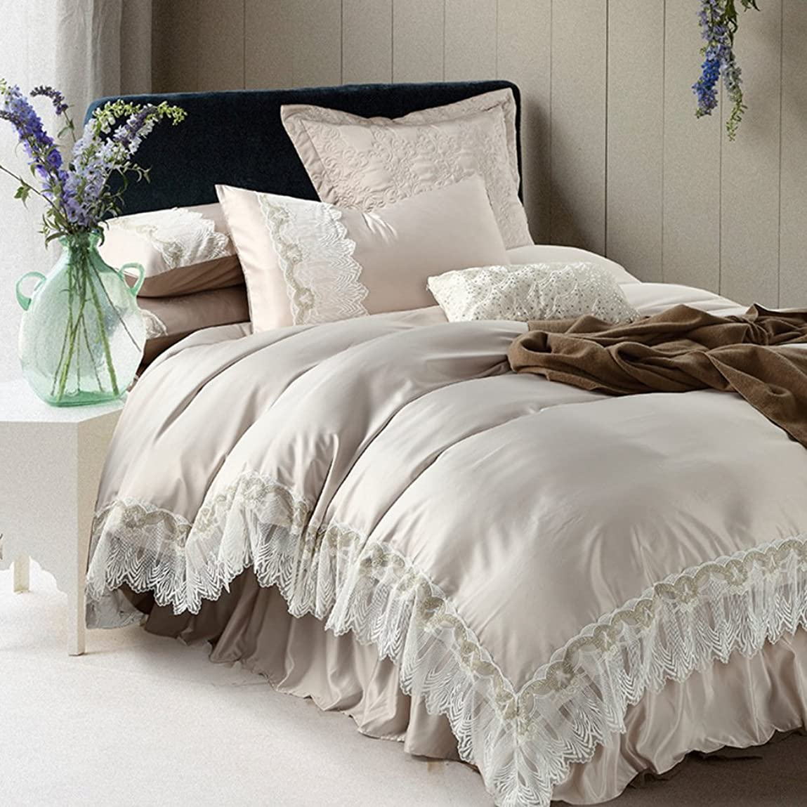アーチ確執賛美歌レース 寝具セット,綿 高級 装飾 ベッドスプレッド シート ベッドスカート 掛け布団カバー 堅牢 高級な-C [A]180*200cm