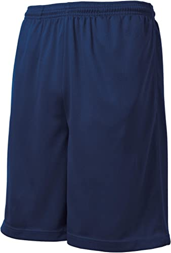 Men's Moisture-Wicking Long Mesh Shorts with Pockets in Sizes XS-4XL