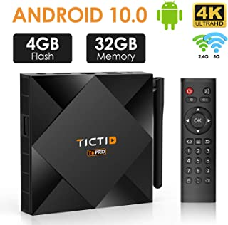 TICTID Android TV Box 10.0 avec Antenne Externe 【4GB DDR3 + 32GB ROM】 T6 Pro H616 4K..