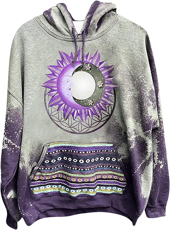Men and Women Hooded Sweatshirt, Oversized Pocket Drawstring Hoodie Casual Long Sleeve Vintage Pattern Loose Pullover