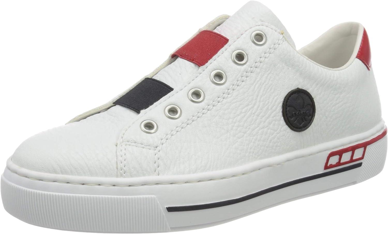 Rieker Women's Low-Top Sneakers White Rosso 81 Pazifik Weiss 年末年始大決算 年末年始大決算