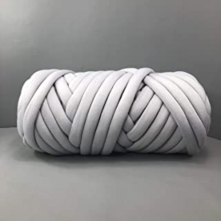 EASTSURE Chunky Braid Cotton Yarn Supre Large for Arm Knitting DIY Handmade Blankets Machine Washable,Grey,1.1LB
