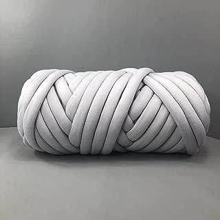 EASTSURE Chunky Braid Cotton Yarn Supre Large for Arm Knitting DIY Handmade Blankets Machine Washable,Grey,1.1LB