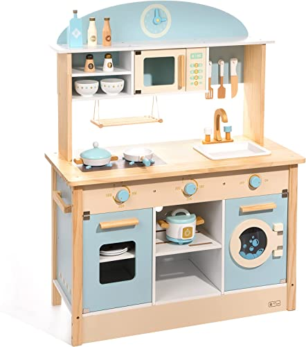 discount ROBUD outlet online sale Kids Kitchen Playset Wooden Kids Play Kitchen Set Pretend Play for discount Toddlers Boys Girls sale