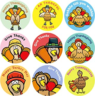 Fancy Land Turkey Stickers Perforated Roll Stickers 200PCS for Kids Thanksgiving Party Supplies Thanksgiving Harvest