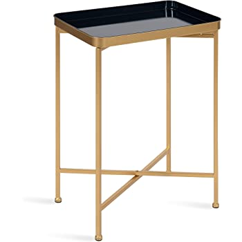 Kate and Laurel Celia Modern Tray Side Table, 18 x 12 x 26, Navy Blue and Gold, Foldable Rectangular End Table for Storage and Display