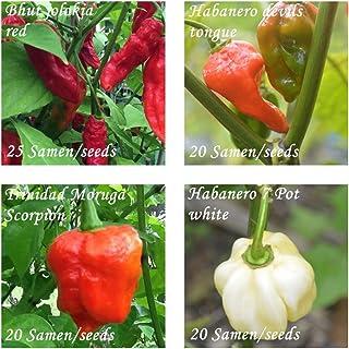 extreme Chilis - 4 neue superscharfe Sorten - je 20/25 Samen - Schärfegrade : 10 bis 10 !!!