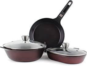 Neoflam MyPan Ceramic Nonstick Cookware Set, Chef's Wok, Grill Pan, Fish Pot, Stir Fry, Saute, Bake with Detachable Handle...