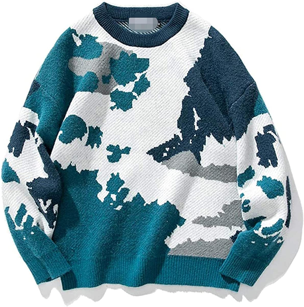 JOAOL Men Camo Harajuku Winter Knitted Sweater Pullover O-Neck Wool Sweater Casual Clothes