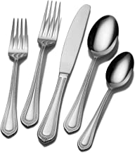 Mikasa Regent Bead 65-Piece 18/10 Stainless Steel Flatware Set with Serving Utensil Set, Service for 12