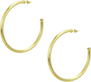 Sheila Fajl Everybody's Favorite 2.25 Inch Tubular Hoop Earrings in Brush Gold Plated
