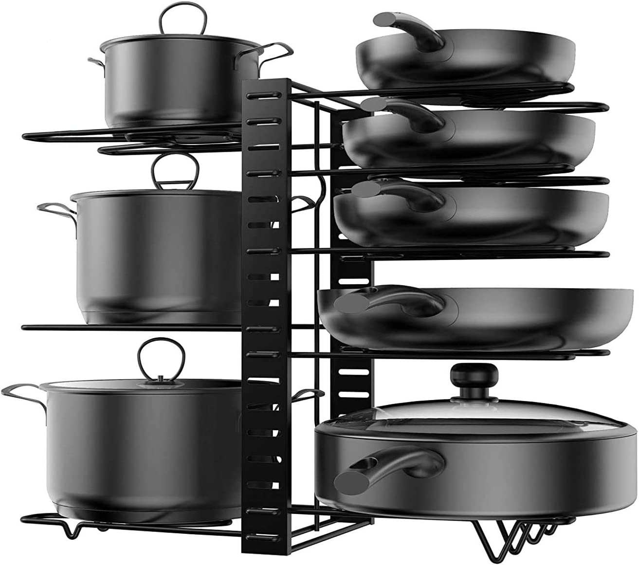 KLEVERISE Excellence 8 Tiers Pot Pan Storage Spring new work Organizers Rack D – Heavy